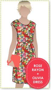 Olivia Dress + Rose Rayon Sewing Pattern Fabric Bundle By Style Arc