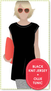 Ollie Tunic + Black Knit Jersey Sewing Pattern Fabric Bundle By Style Arc - Ollie Tunic pattern + Black knit jersey bundle.