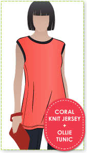 Ollie Tunic + Coral Knit Jersey Sewing Pattern Fabric Bundle By Style Arc - Ollie Tunic pattern + Coral knit jersey bundle.