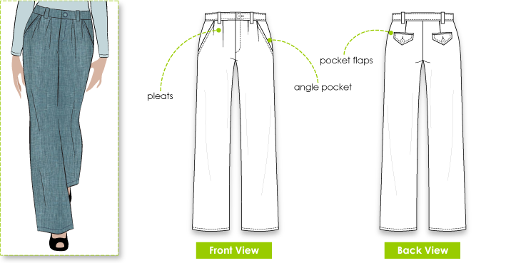 Melissa Pant Sewing Pattern By Style Arc - Pleat front pant with straight leg
