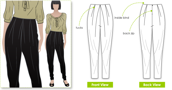 Hayley Pant Sewing Pattern By Style Arc - The newest style of harem pant