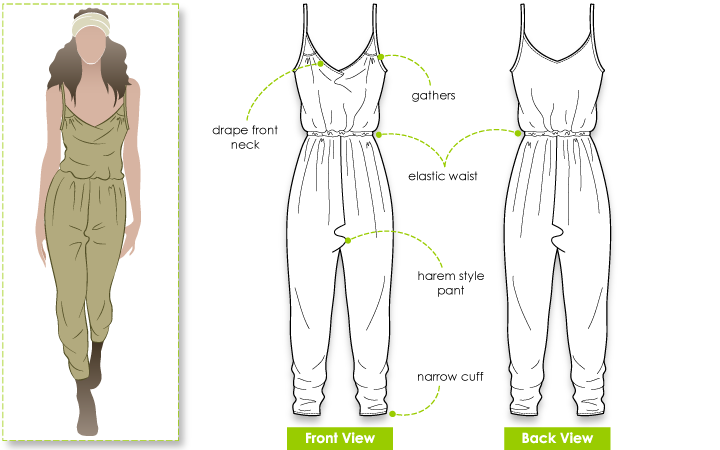 Ruby Jumpsuit Sewing Pattern By Style Arc - Harem style pant all-in-one jumpsuit pattern