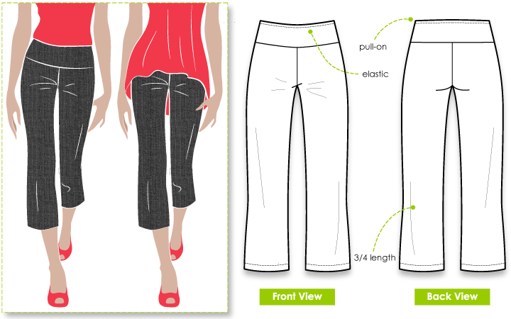 Cruising Kate Pant Sewing Pattern By Style Arc - This 'must have' pant is great for holiday wardrobe