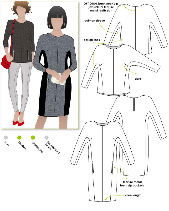 Paige Top / Dress Sewing Pattern By Style Arc - Dolman sleeve dress or top with feature zips & design lines