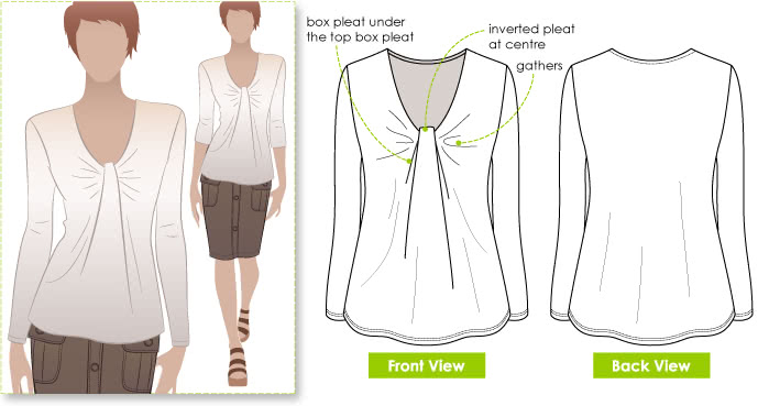 Polly Top Sewing Pattern By Style Arc - Latest trend double pleat front top