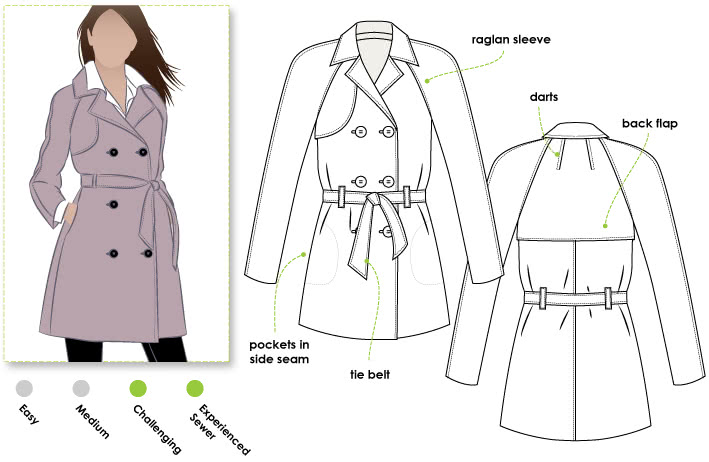 Prue Trench Sewing Pattern By Style Arc - All weather double breasted Trench coat