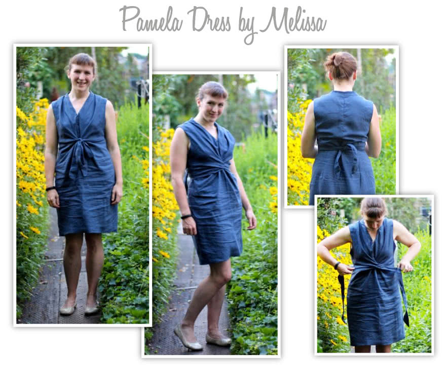 Pamela Dress Sewing Pattern By Melissa And Style Arc - Great tie front woven dress with interesting neckline