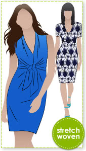 Pamela Dress Sewing Pattern By Style Arc - Great tie front woven dress with interesting neckline