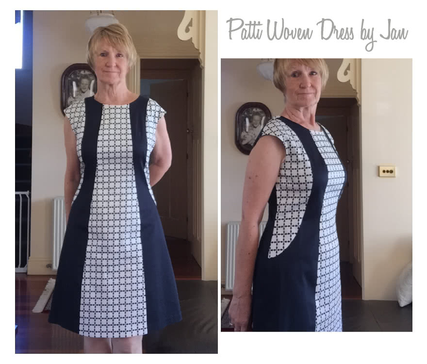Patti Woven Dress Sewing Pattern By Jan And Style Arc - Fitted panelled dress with extended shoulder