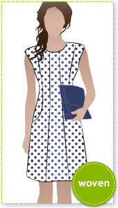Patti Woven Dress Sewing Pattern By Style Arc - Fitted panelled dress with extended shoulder