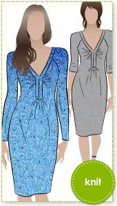 Paula Jersey Dress Sewing Pattern By Style Arc - Flattering jersey slip on dress with raglan sleeve