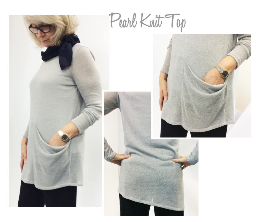 Pearl Knit Top Sewing Pattern By Style Arc - Draped side knit top with long or short sleeves