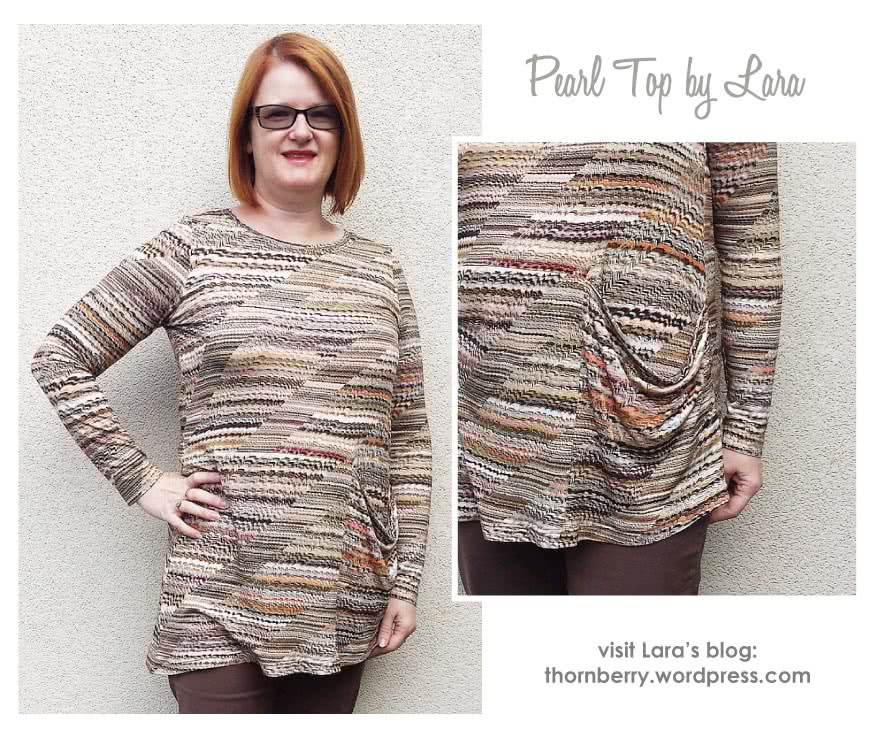 Pearl Knit Top Sewing Pattern By Lara And Style Arc - Draped side knit top with long or short sleeves