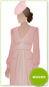 Peony Woven Dress Sewing Pattern By Style Arc - Empire line dress with peplum