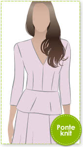 Phillipa Peplum Sewing Pattern By Style Arc - Stylish V neck peplum as worn by Kate in Australia