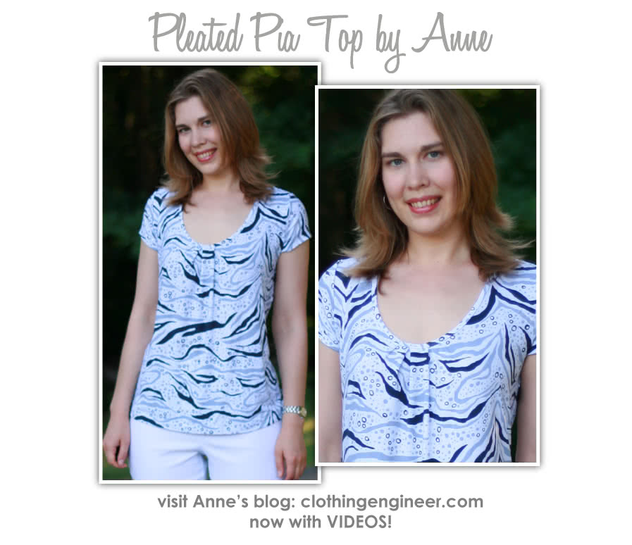 Pleated Pia Top Sewing Pattern By Anne And Style Arc - Long sleeve top with pleated neck line