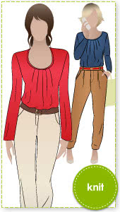 Pleated Pia Top Sewing Pattern By Style Arc - Long sleeve top with pleated neck line