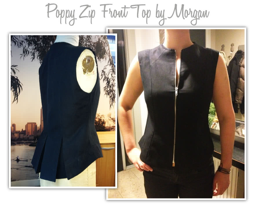 Poppy Zip Front Top Sewing Pattern By Morgan And Style Arc - Zip front top with a slightly raised neckline, front zip and back pleats