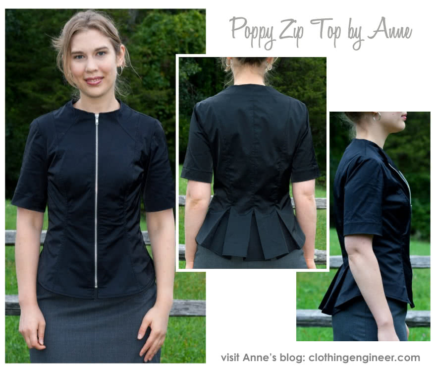 Poppy Zip Front Top Sewing Pattern By Anne And Style Arc - Zip front top with a slightly raised neckline, front zip and back pleats