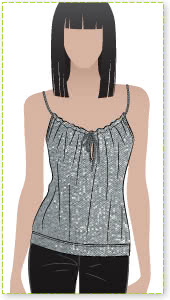 Posh Top Sewing Pattern By Style Arc - Great top featuring cord drawstring shoulder straps and keyhole front opening