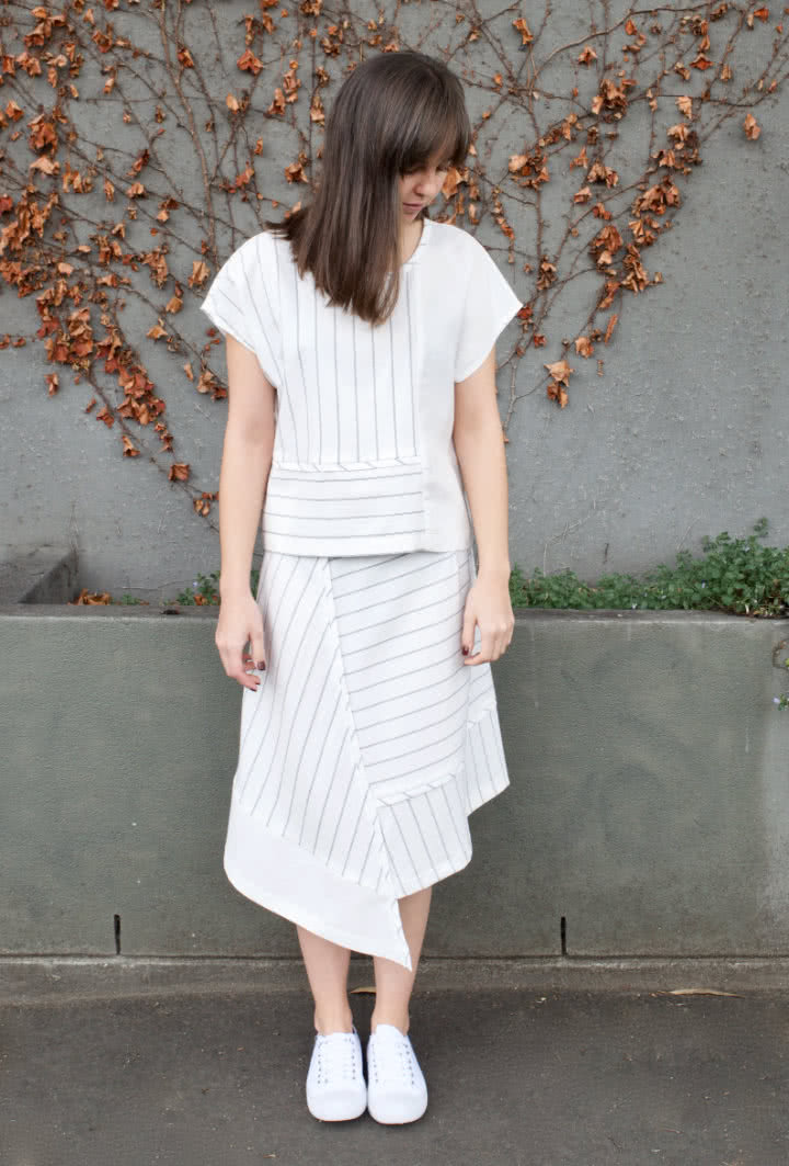 Quinn Woven Skirt Sewing Pattern By Style Arc - Asymmetrical panelled skirt