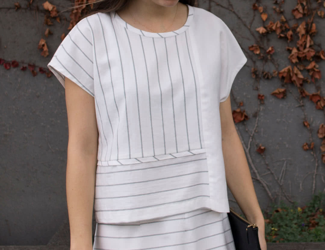 Quinn Woven Top Sewing Pattern By Style Arc - Square cut panelled top with extended shoulder line