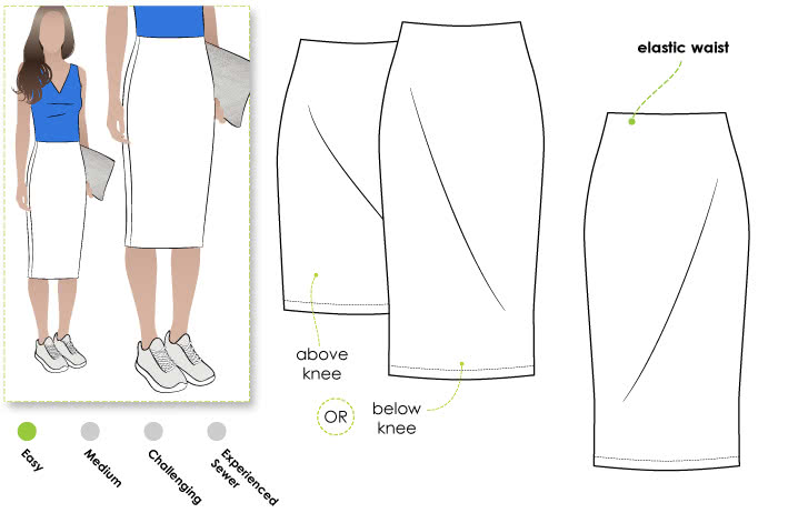Rita Ponte Skirt Sewing Pattern By Style Arc - Ponte pencil skirt in two lengths with elastic waist