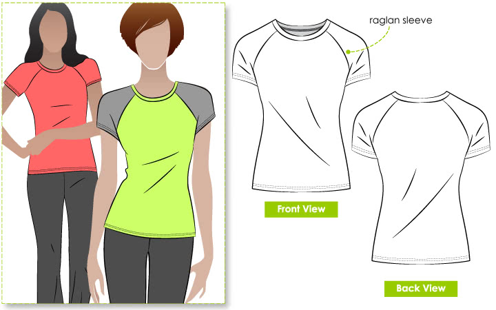Riva Raglan T-Shirt Sewing Pattern By Style Arc - Raglan T-shirt with round neck and short sleeves