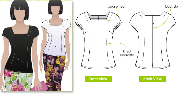 Robin Top Sewing Pattern By Style Arc - Fitted woven top suitable for all seasons
