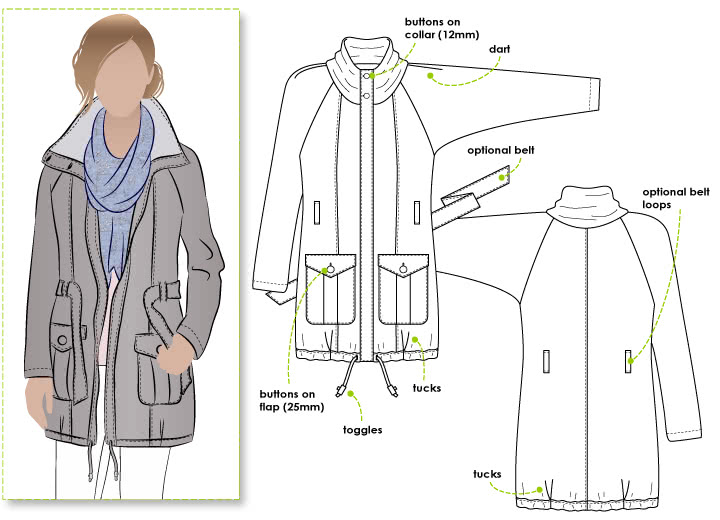 Romy Anorak Sewing Pattern By Style Arc - Must have casual coat of the season