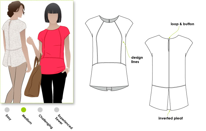 Rosie Top Sewing Pattern By Style Arc - Versatile top with interesting back detail