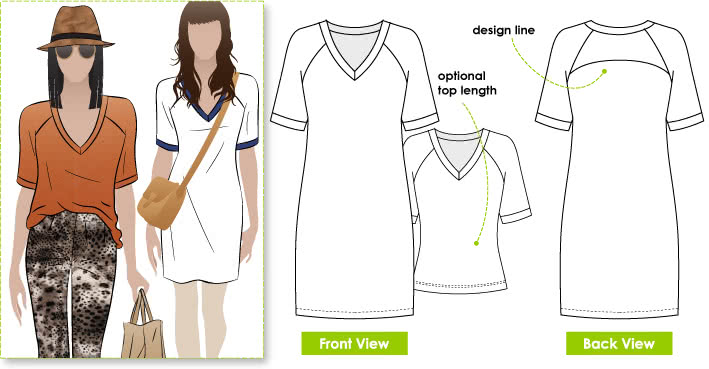 Rowe's Tunic / Top Sewing Pattern By Style Arc - Knit raglan tunic/top with interesting design features