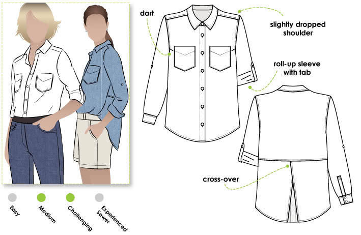 Roxy Shirt Sewing Pattern By Style Arc - Oversized shirt with back interest
