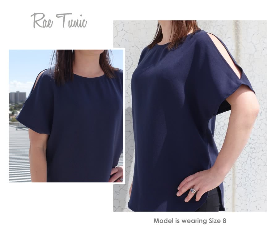 Rae Tunic Sewing Pattern By Style Arc - Super easy tunic top with fashionable split sleeve