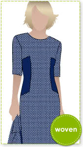 Renae Woven Dress Sewing Pattern By Style Arc - Stylish sheath dress with side inserts