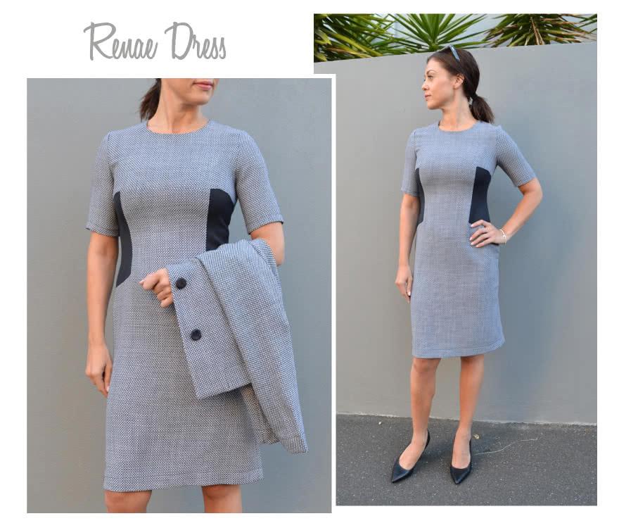 Renae Woven Dress Sewing Pattern By Style Arc - Stylish sheath dress with side inserts