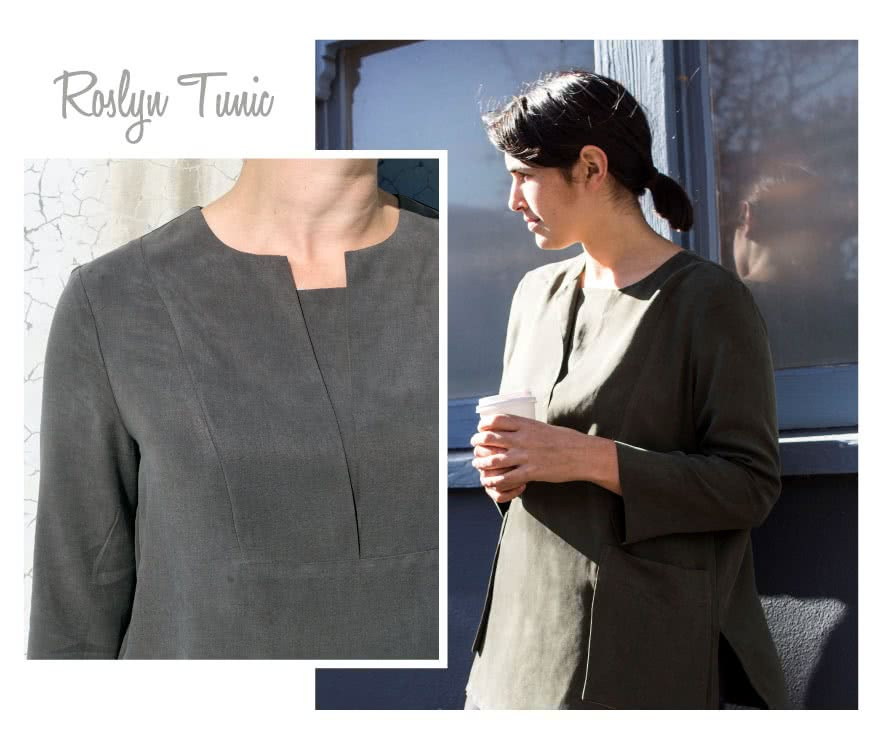 Roslyn Tunic Dress Sewing Pattern By Style Arc - Shift Tunic/Dress with an interesting pocket, yoke and sleeve detail