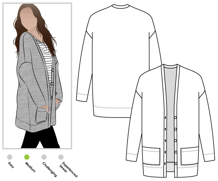 Sabel Boyfriend Cardi Sewing Pattern By Style Arc - Oversized knit square cut cardigan