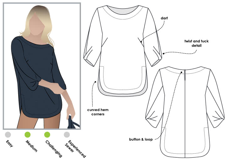 Sadie Tunic Sewing Pattern By Style Arc - Twist sleeve tunic top with fashionable hemline
