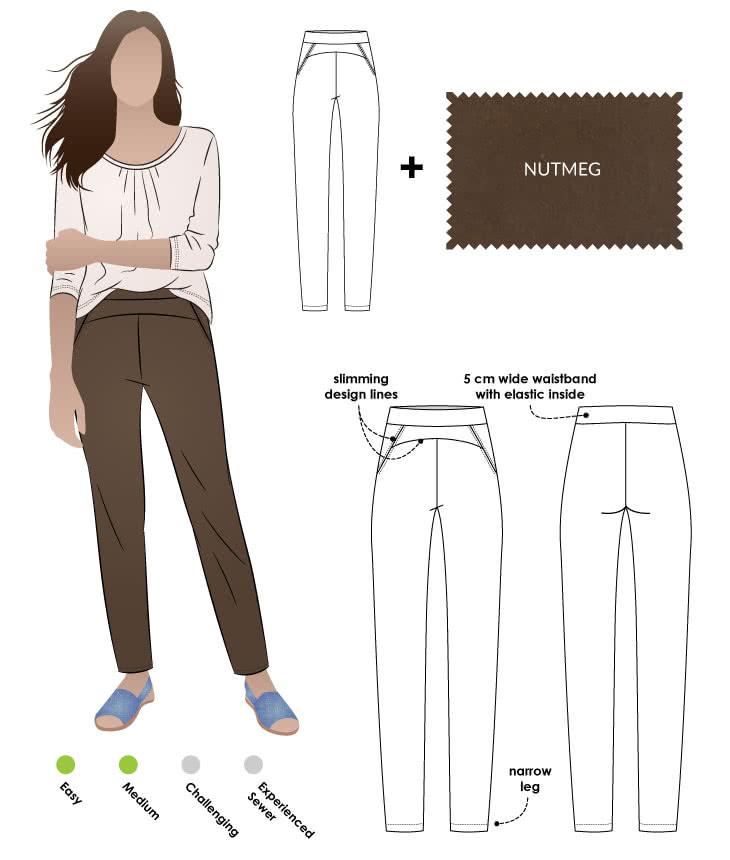 Sage Pant + Nutmeg Bengaline Sewing Pattern Fabric Bundle By Style Arc - Sage Pant pattern + Midnight Stretch Bengaline fabric bundle