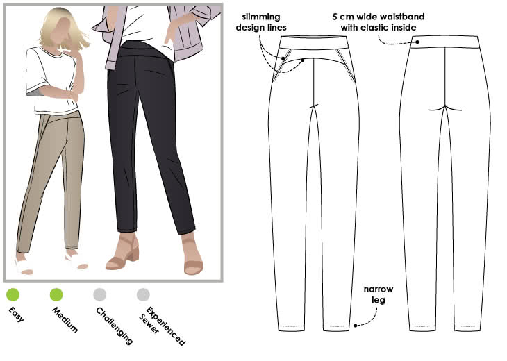 Sage Stretch Pant Sewing Pattern By Style Arc - Stretch woven pull on pant with wide elastic waist and front design detail