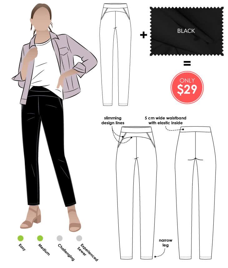 Sage Pant + Black Bengaline Sewing Pattern Fabric Bundle By Style Arc - Sage Pant pattern + Black Stretch Bengaline fabric bundle