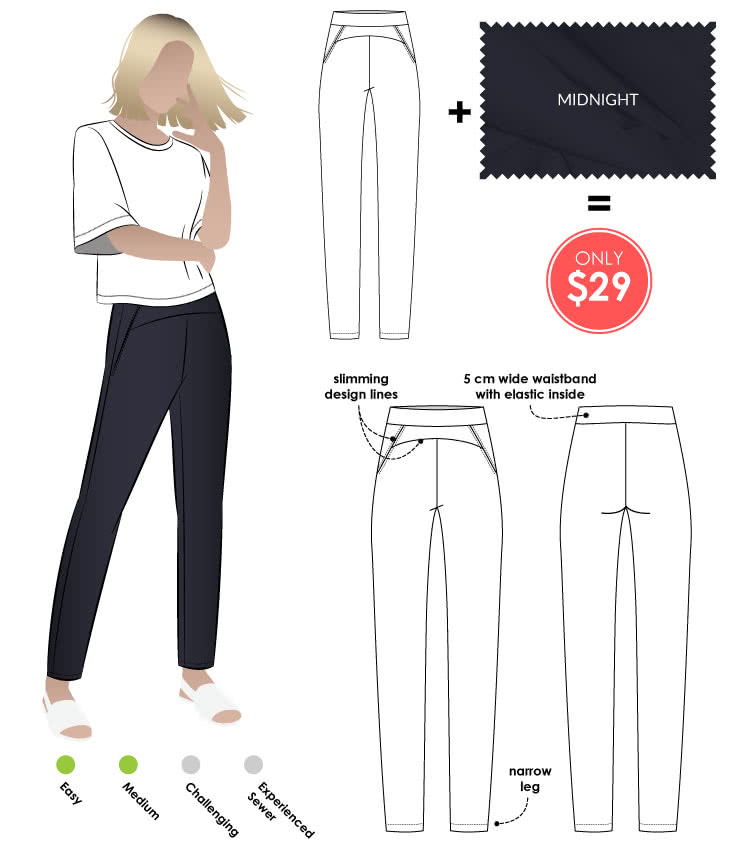 Sage Pant + Midnight Bengaline Sewing Pattern Fabric Bundle By Style Arc - Sage Pant pattern + Midnight Stretch Bengaline fabric bundle