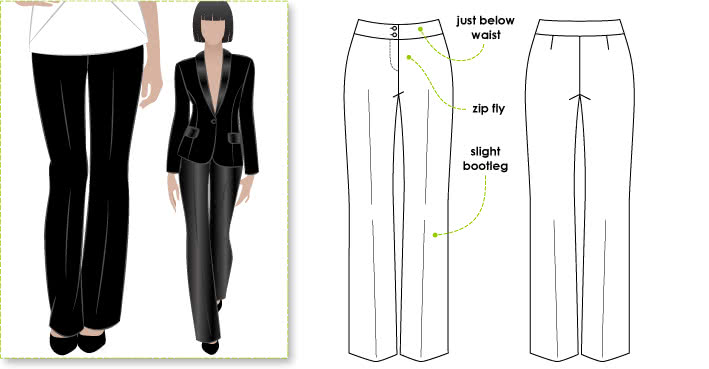 Sammi Woven Pant Sewing Pattern By Style Arc - Basic woven pant with slight bootleg, for the office or the weekend