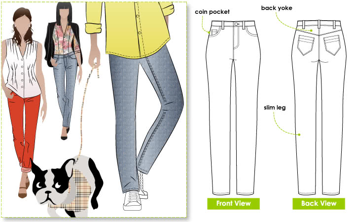 Sandra Narrow Leg Jean Sewing Pattern By Style Arc - Fashionable narrow leg woven jean