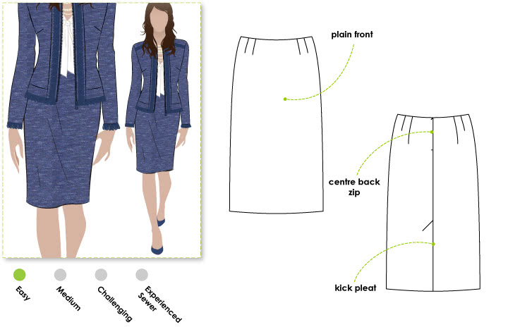 Sara Skirt Sewing Pattern By Style Arc - Flattering straight skirt with kick pleat at back