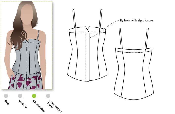 Saskia Woven Bustier Sewing Pattern By Style Arc - Fully lined fitted bustier with concealed zip front