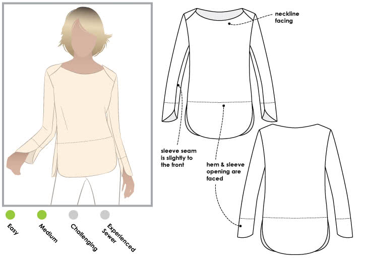 Savannah Knit Top Sewing Pattern By Style Arc - Great basic layering piece with a point of difference