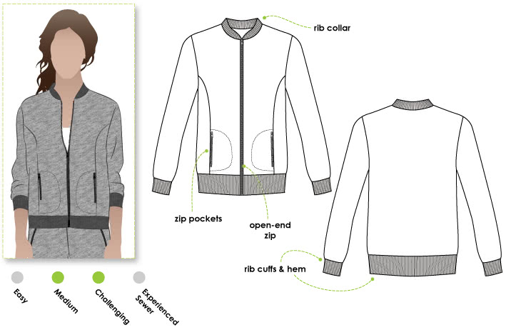 Sharon Sweat Top Sewing Pattern By Style Arc - Classic zip-front sweat top with rib detail