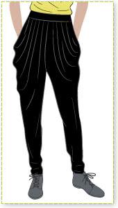 Shaza Jersey Pant Sewing Pattern By Style Arc - Stylish elastic waist pant with soft pleats